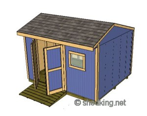 10x12 storage shed with a saltbox style roof
