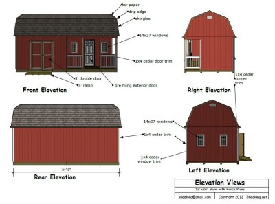 12x24 barn shed plans elevation views
