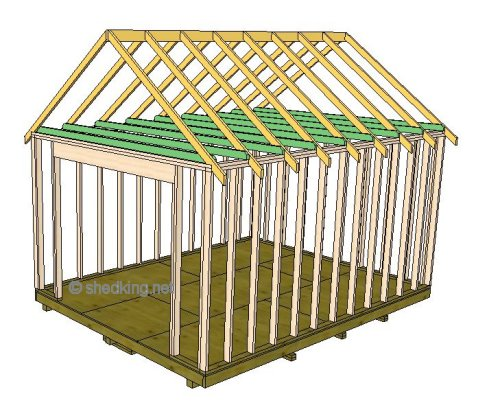 using a ridge board for the gable shed roof