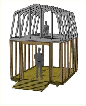 Gambrel cabin plans 16x24 joy studio design gallery for Gambrel shed plans with loft