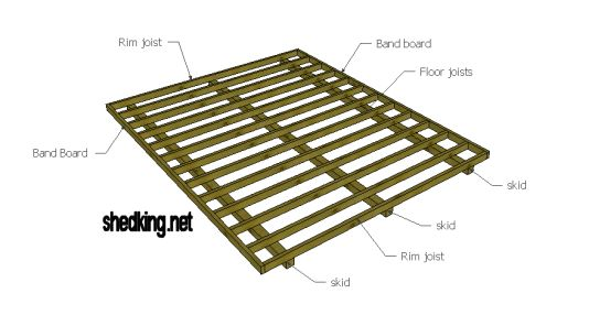 Shed floors band boards rim joists skids and more for 12x16 deck plans