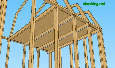 Looking at framing for a shed loft from the underside.