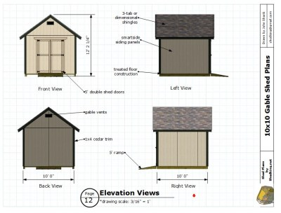 elevation views of backyard storage shed