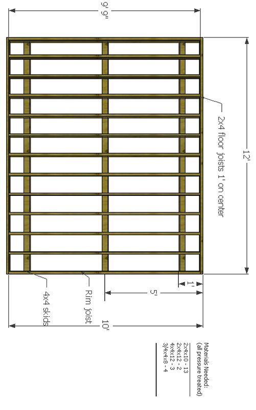 10x12 shed floor with shed foundation skids