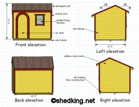 elevation views of 10x8 saltbox shed