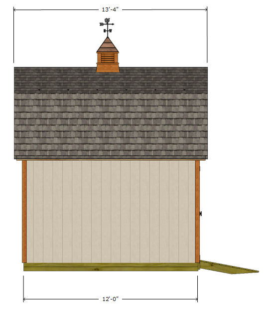 12x12 gambrel shed plans side elevation view.
