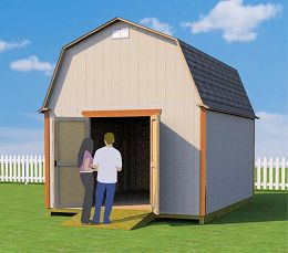12x16 barn shed plans with doors on end wall
