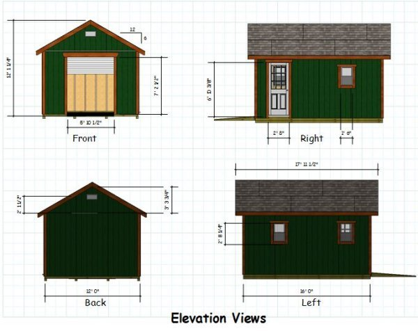 12x16 gable storage shed plans with roll up shed door for 16 x 10 garage door cost