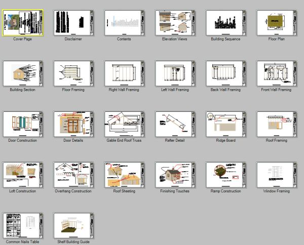 Content pages for 12x16 garden shed plans