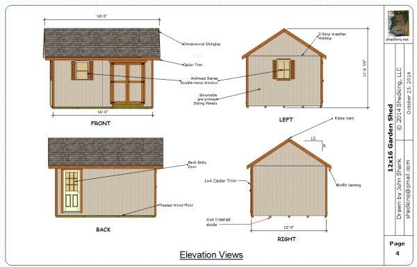 garden shed blueprint collage