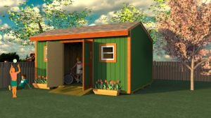 Saltbox style 12x16 shed plans.