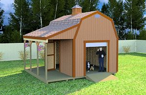 Gambrel style roof 12x16 shed plans with porch.