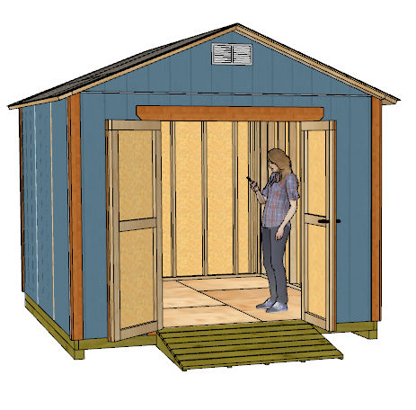 10x12 gable shed plans front left view