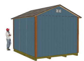 10x12 gable shed plans front right view
