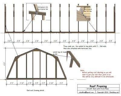 sample 12x24 barn blueprint detail