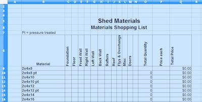materials list spreadsheet