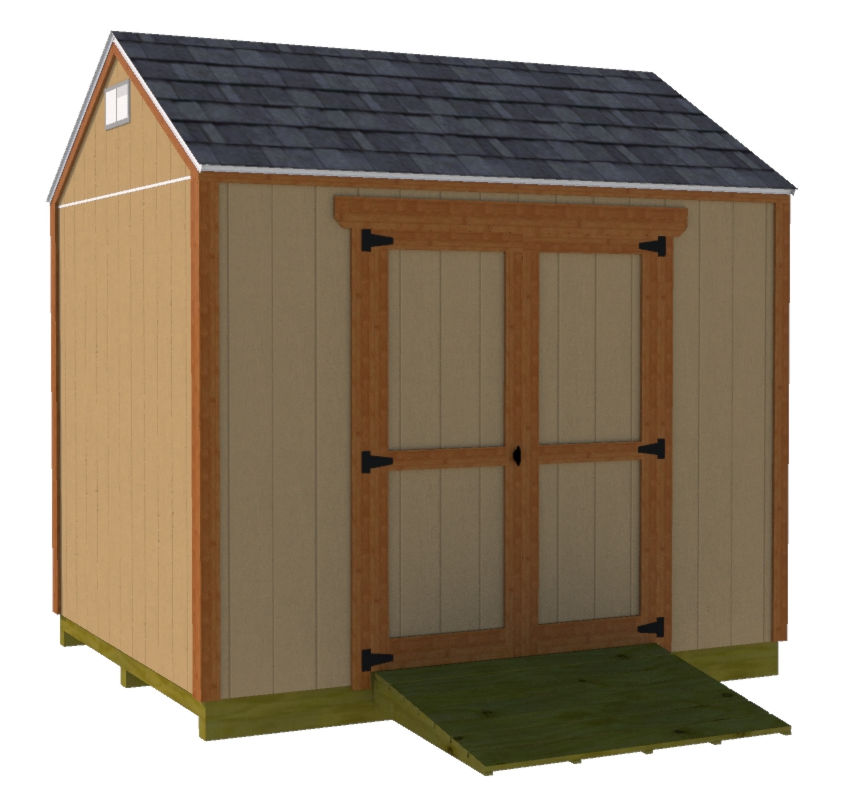 8x10 gable shed plans with double shed doors on long wall