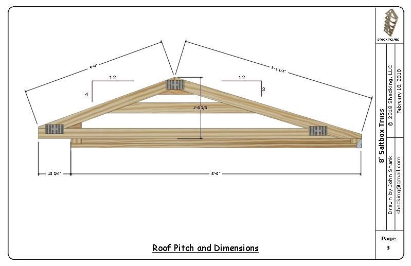 8' saltbox shed truss roof pitch and dimensions
