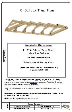 8ft saltbox shed truss plans cover page