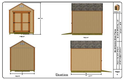 8x10 gable shed plans elevation views