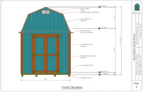 front elevation of 8x12 barn shed plans