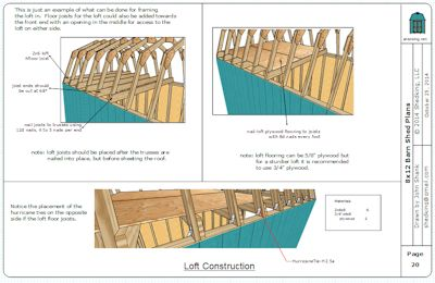 8x12 barn shed loft construction