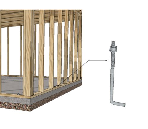 j-bolt for concrete shed floor