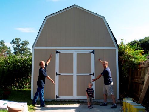 Craig helped build this neat shed using my 12x16 barn shed plans.
