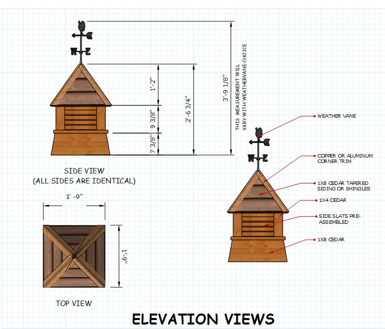 Free cupola plans for your neat shed for Shed cupola