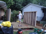 framing in the walls on this gable shed