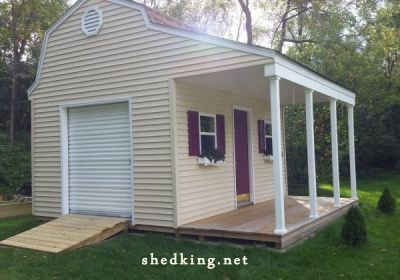 vinyl siding on this shed with porch