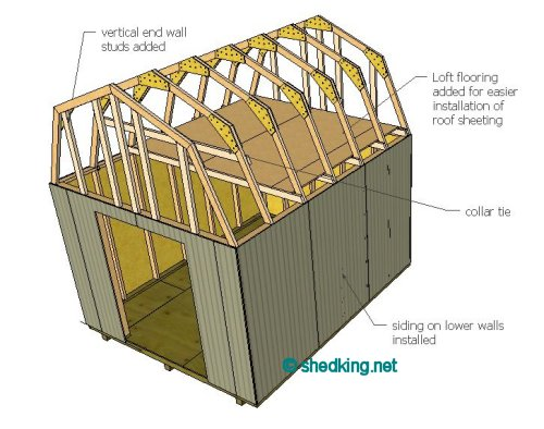 Siding, ceiling joists, collar tie(s) and loft flooring added for stability and support