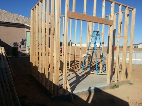 all four walls framed and standing up