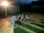 building a shed with helpers