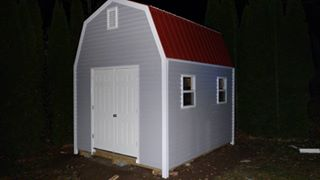 gambrel shed plans used by Jason to build this neat shed.