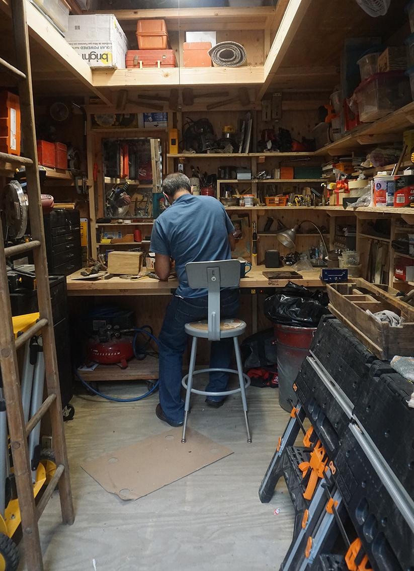 Pictures of sheds- Jerry's 8x10 barn shed workshop.