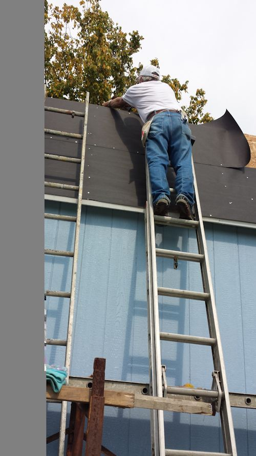 marty working on the roof