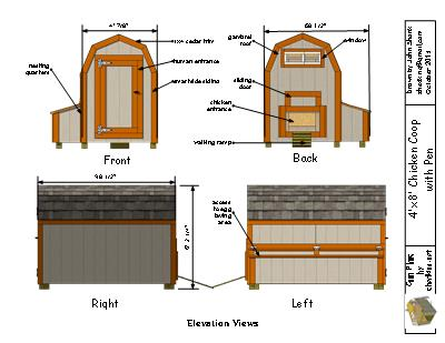elevation views for the 4x8 chciken coop plans