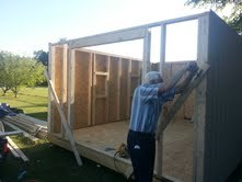 Setting the walls for the 12x16 barn shed