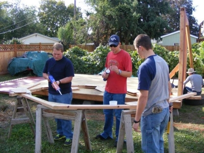 Helpers working on Rod's 12x16 barn shed