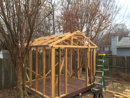 front view of rods gable shed framing