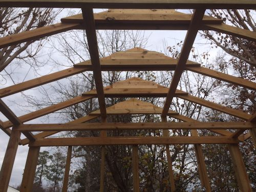view of rods gable shed roof framing