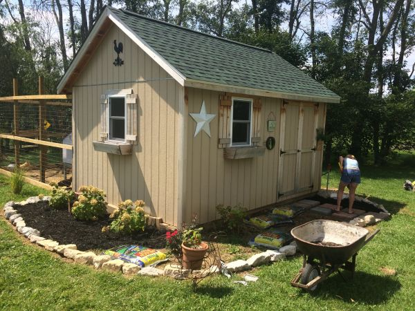 sarahs garden shed with coop in back