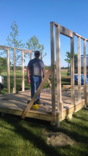 front and back wall framing on sarahs shed