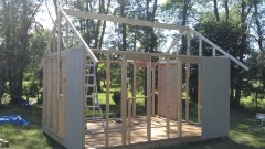 roof framing underway on sarahs garden shed