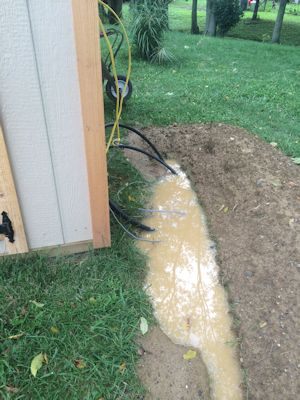 trench filled with water to shed
