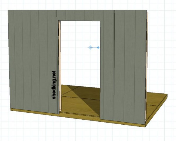 cutting the siding out for a single shed door