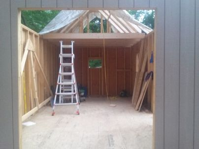 gable roof shed loft area