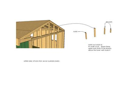 Upper end wall framing for 16x12 Saltbox Shed