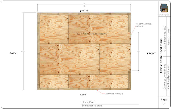 10x1`2 gable shed plans floor plan